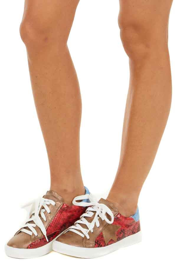 Lipstick Red Multicolor Snakeskin Lace Up Sneakers side view