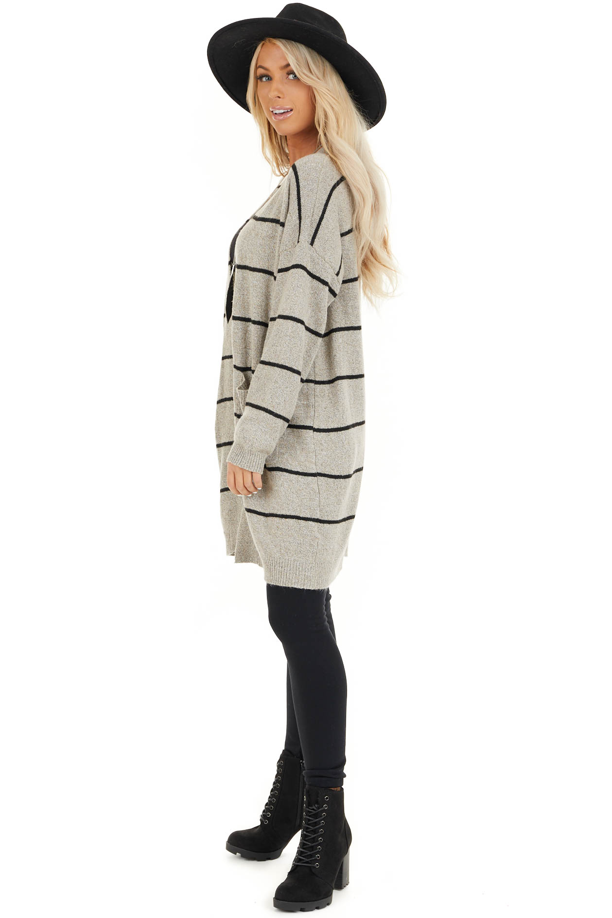 Taupe and Black Striped Knit Cardigan with Open Front side full body
