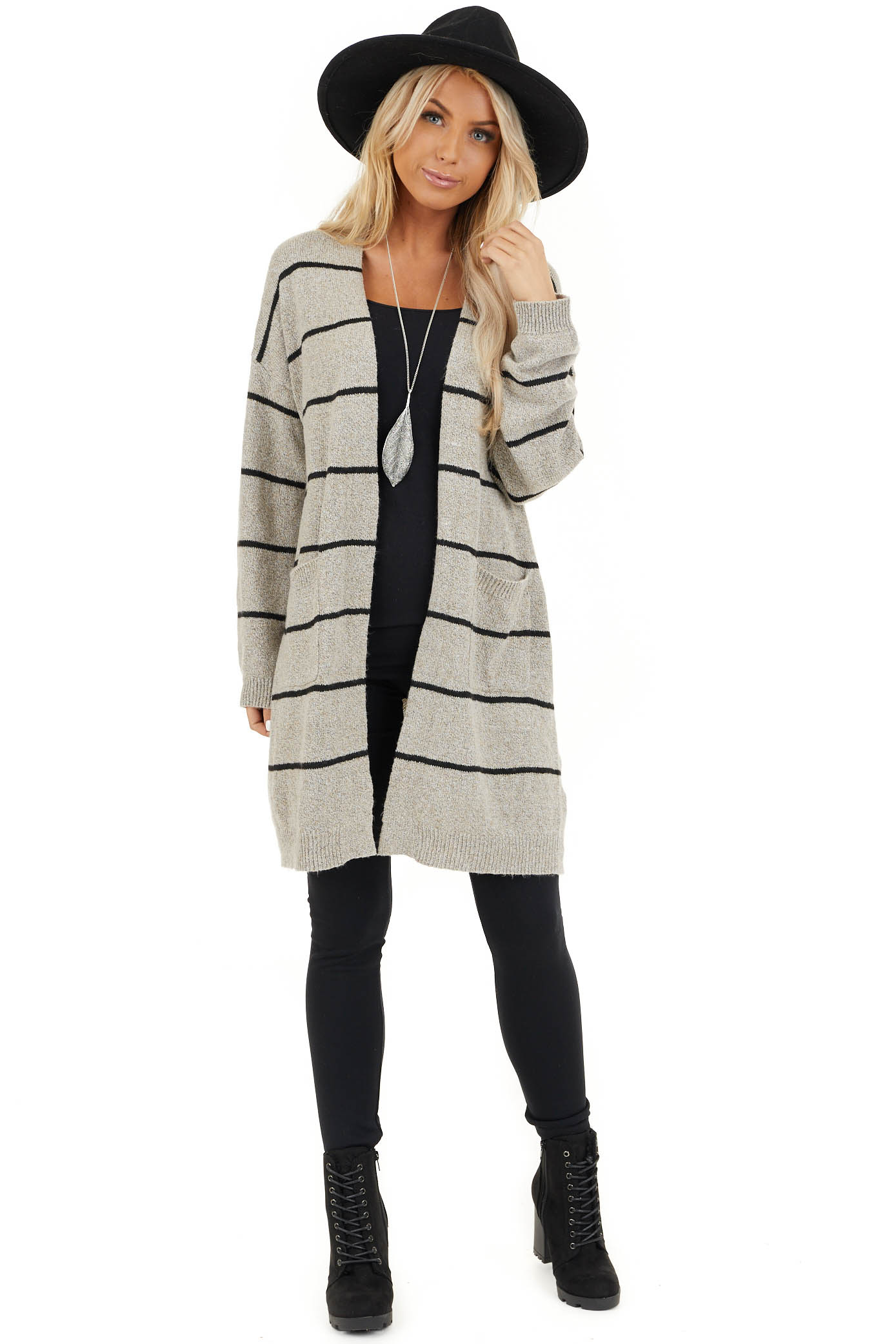 Taupe and Black Striped Knit Cardigan with Open Front front full body