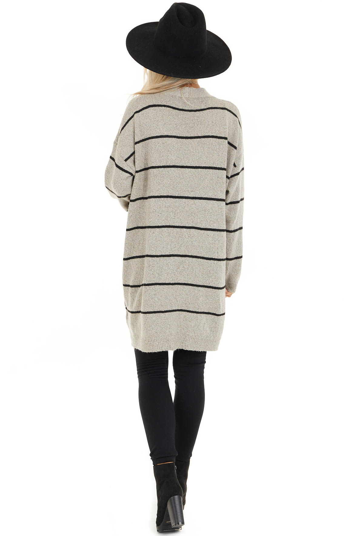 Taupe and Black Striped Knit Cardigan with Open Front back full body