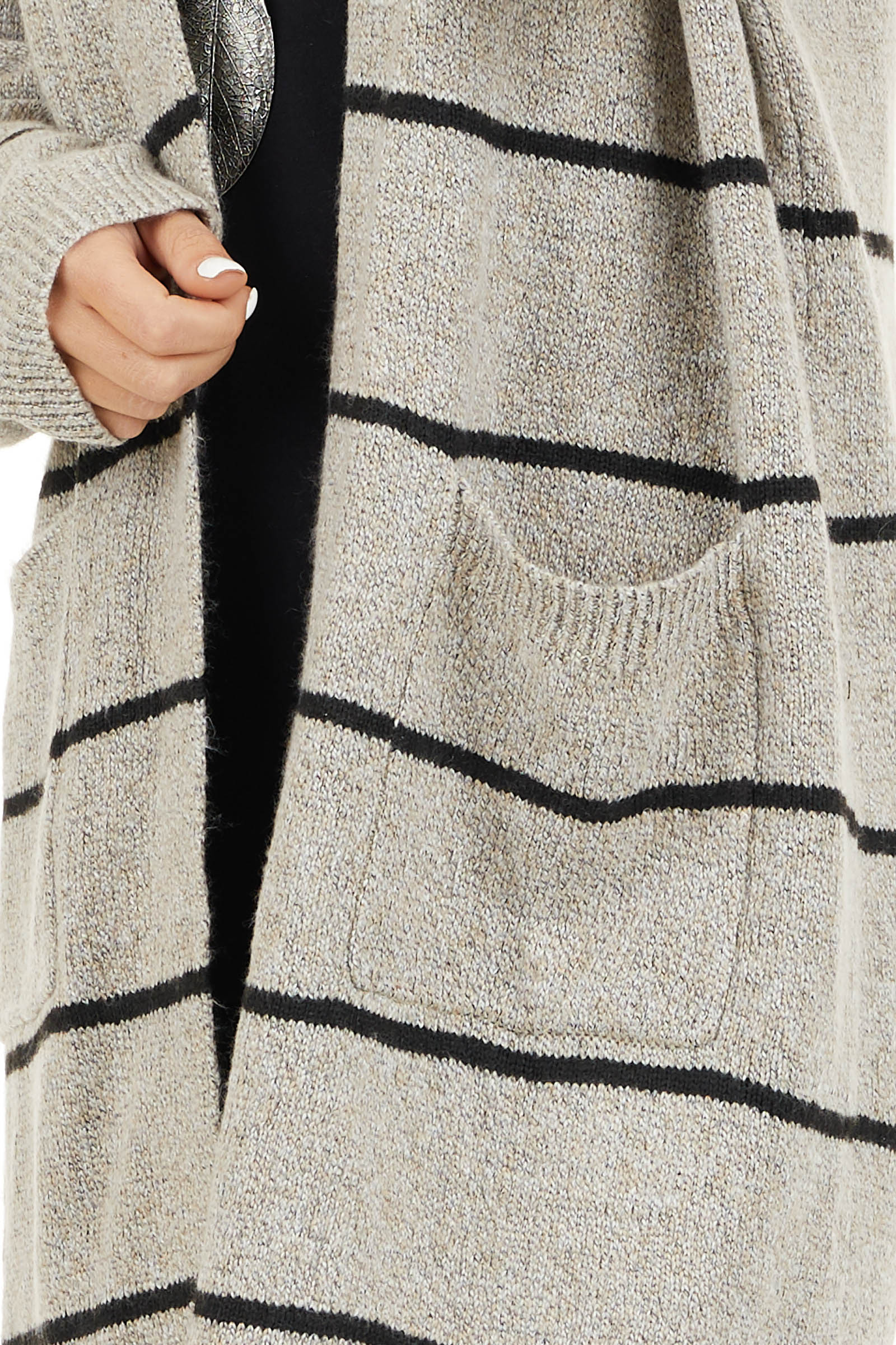 Taupe and Black Striped Knit Cardigan with Open Front detail