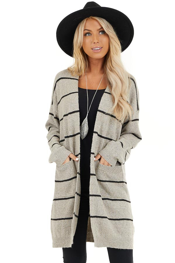 Taupe and Black Striped Knit Cardigan with Open Front front close up