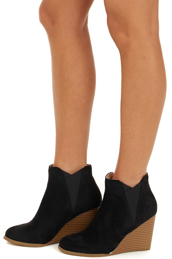 Black Faux Suede Rounded Toe Bootie Wedges side view