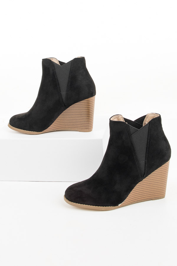 Black Faux Suede Rounded Toe Bootie Wedges