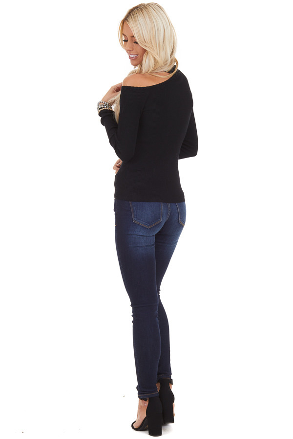 Black Ribbed Knit Top with Cold Shoulder and Mock Neckline back full body