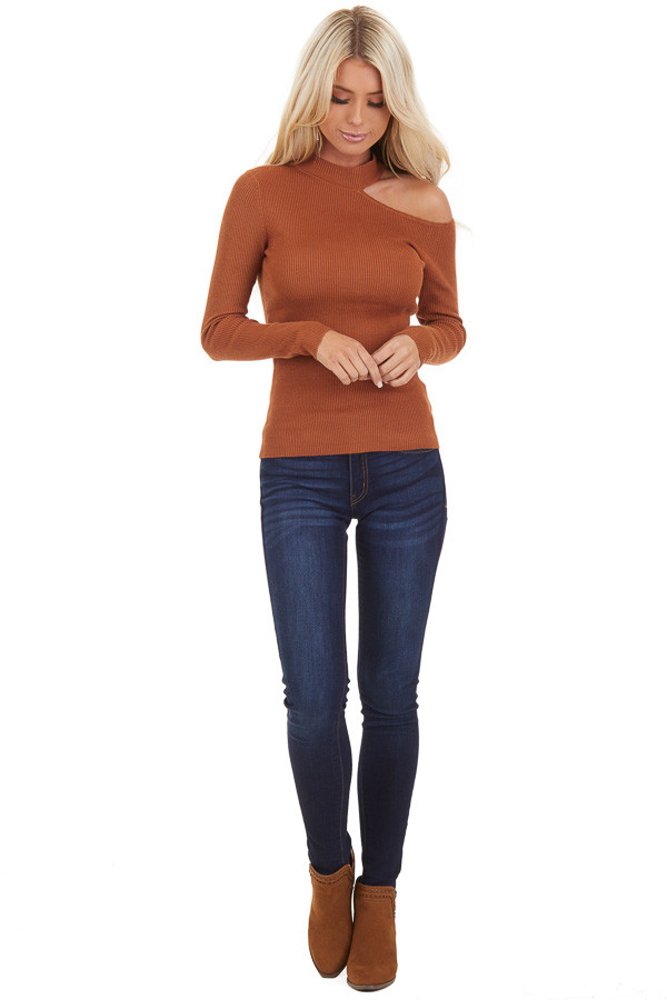 Camel Ribbed Knit Top with Cold Shoulder and Mock Neckline front full body