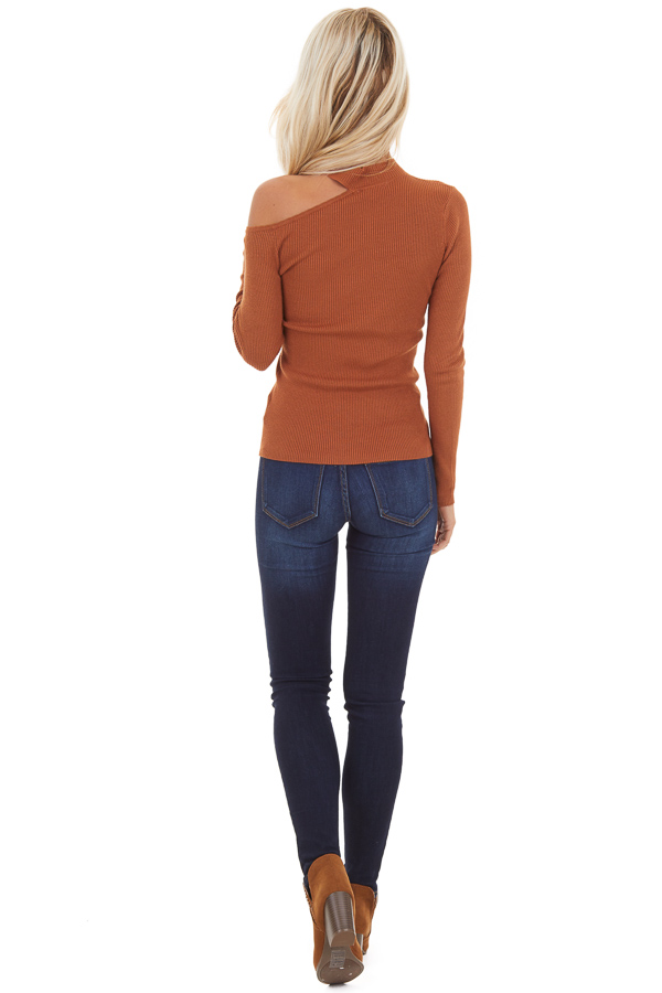 Camel Ribbed Knit Top with Cold Shoulder and Mock Neckline back full body