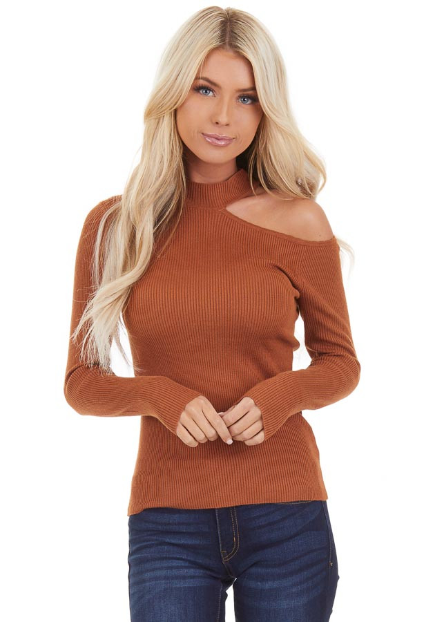 Camel Ribbed Knit Top with Cold Shoulder and Mock Neckline front close up