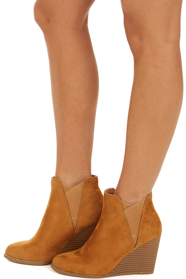 Caramel Faux Suede Rounded Toe Bootie Wedges side view