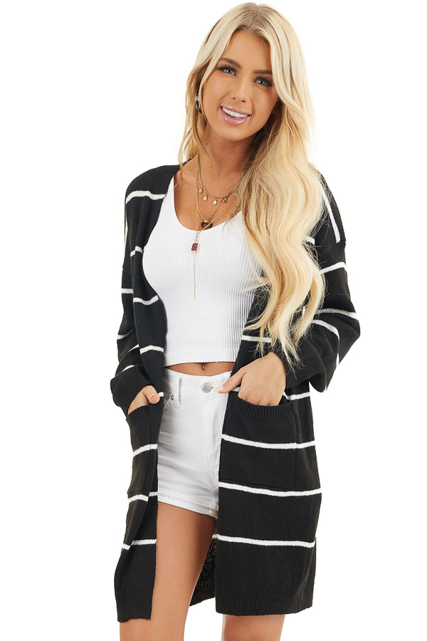 Black and Ivory Striped Knit Cardigan with Open Front front close up
