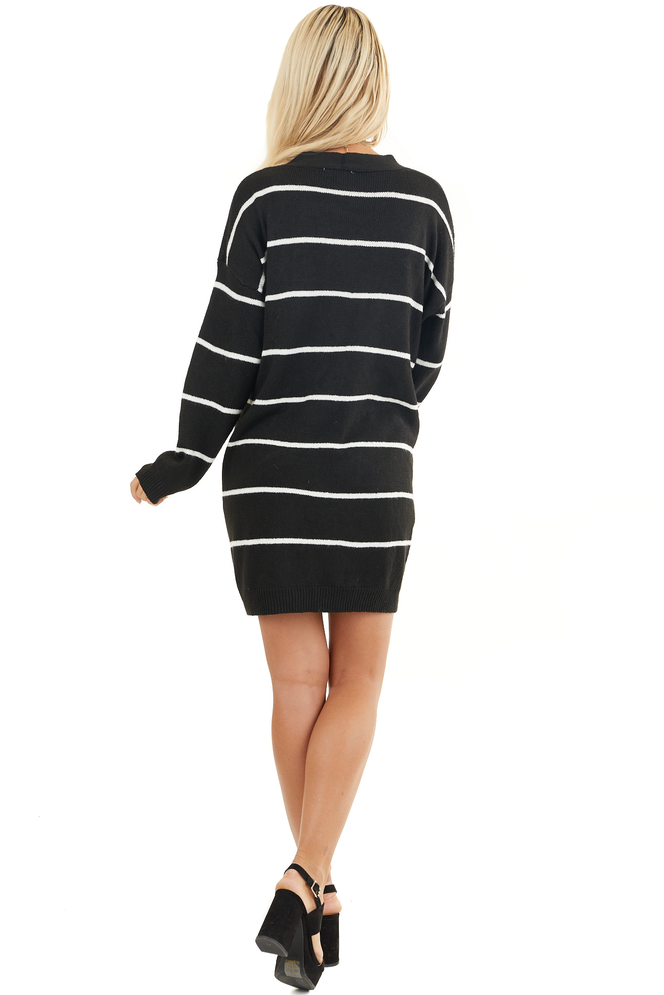 Black and Ivory Striped Knit Cardigan with Open Front back full body