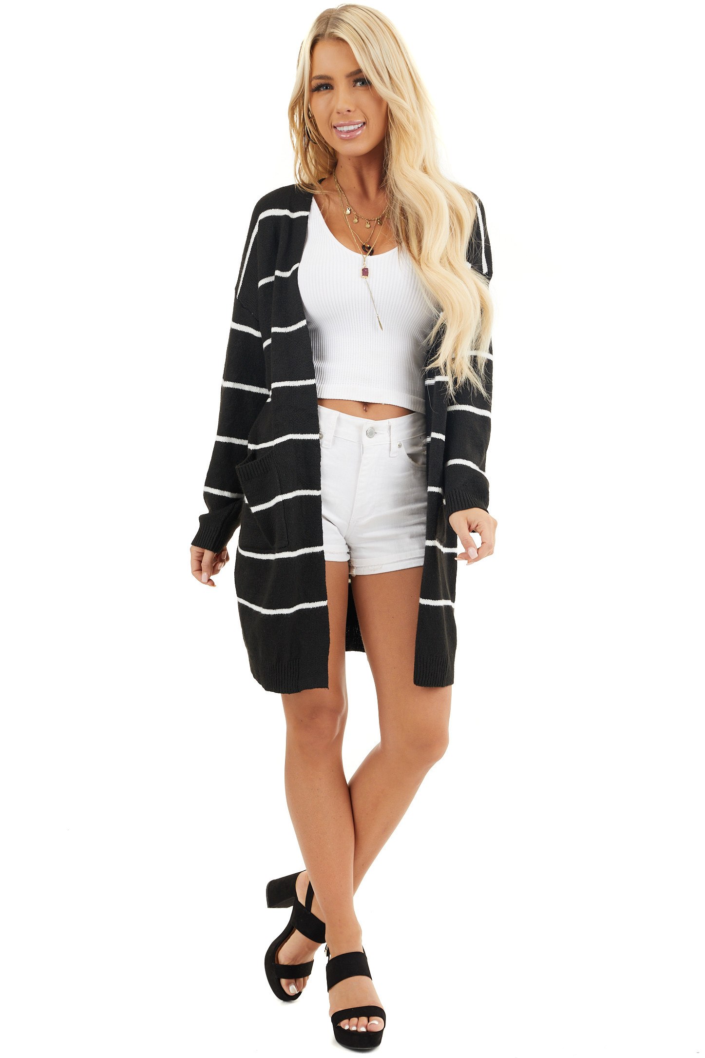 Black and Ivory Striped Knit Cardigan with Open Front front full body