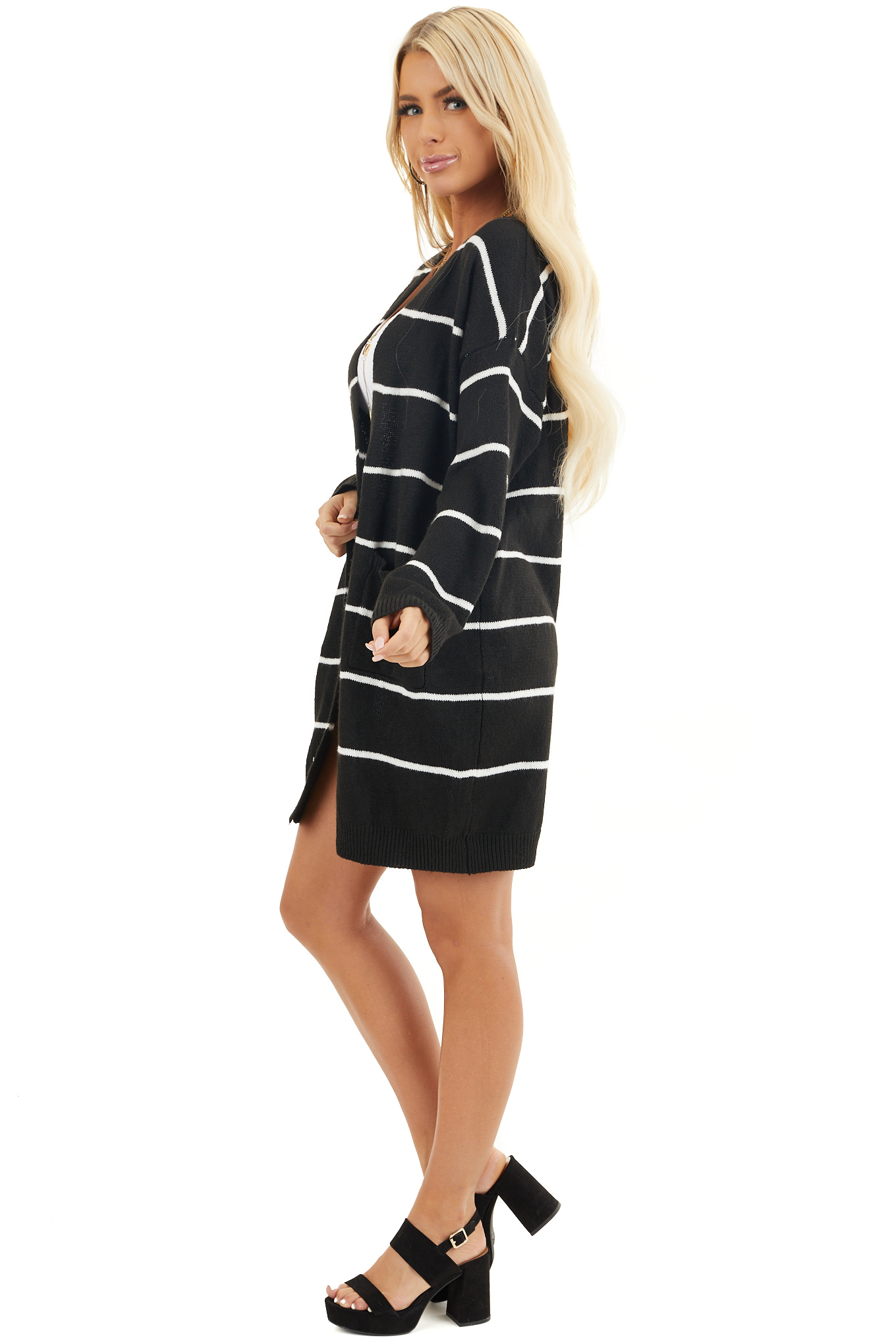 Black and Ivory Striped Knit Cardigan with Open Front side full body