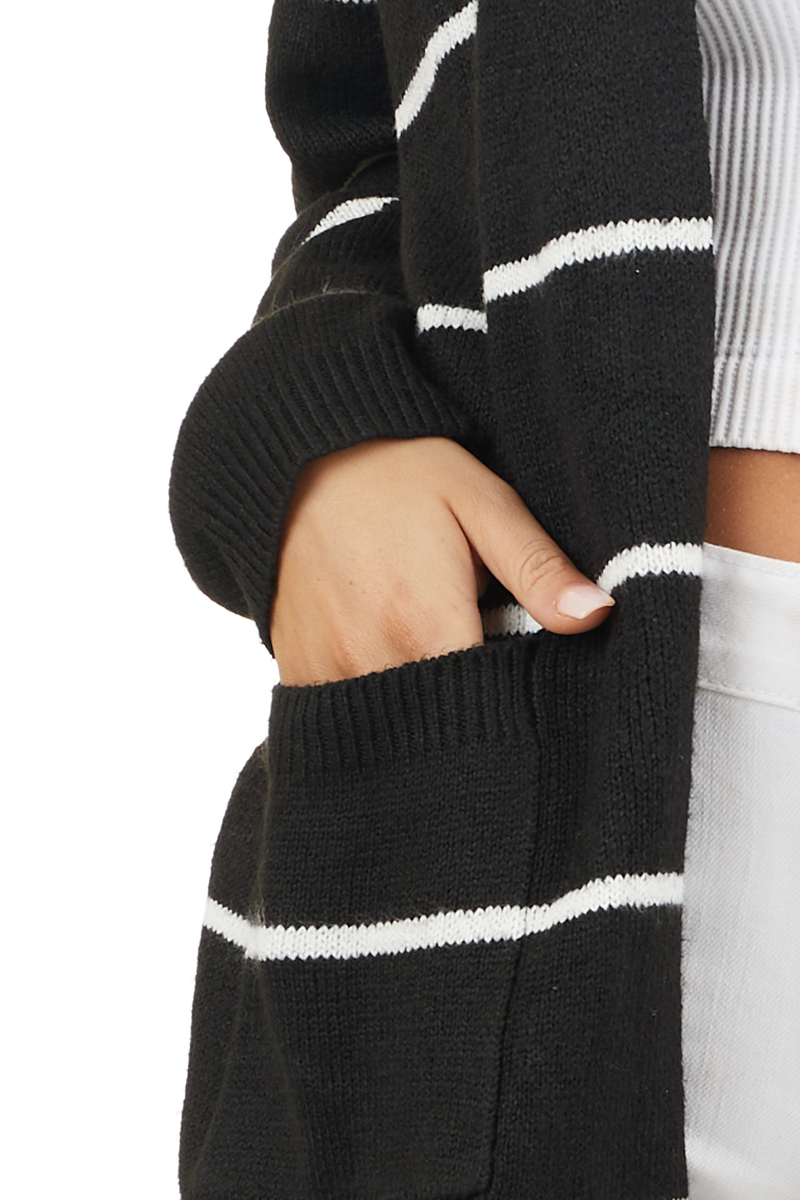 Black and Ivory Striped Knit Cardigan with Open Front detail