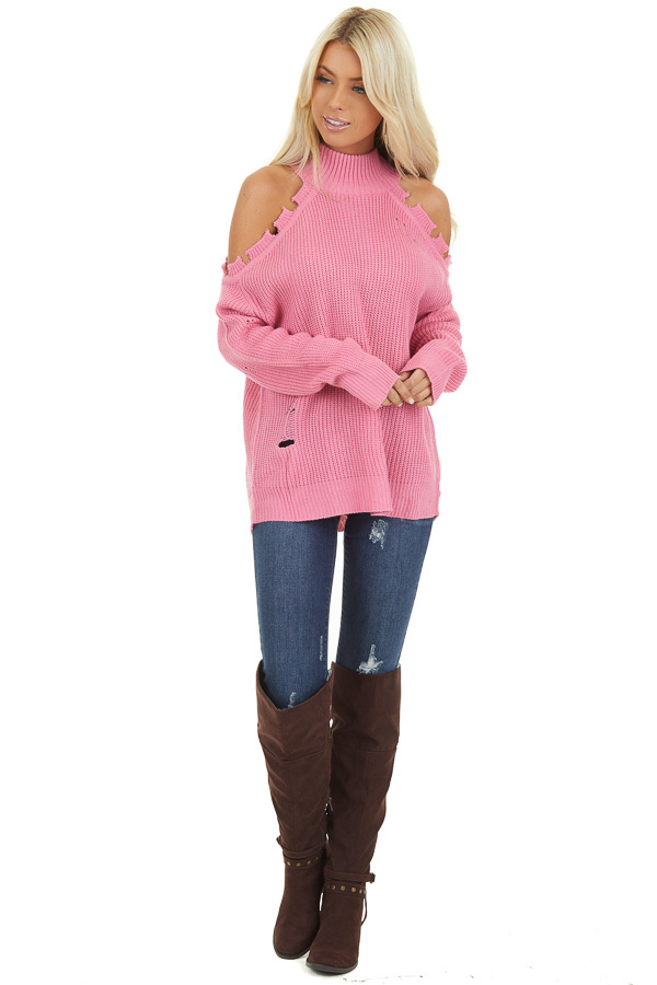 Bubblegum Pink Cold Shoulder Sweater with Distressed Details front full body