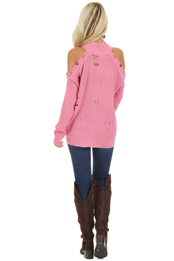 Bubblegum Pink Cold Shoulder Sweater with Distressed Details back full body