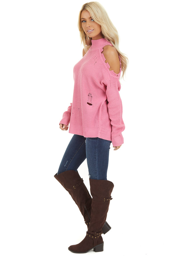 Bubblegum Pink Cold Shoulder Sweater with Distressed Details side full body