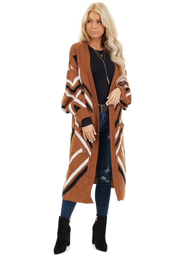 Cognac Aztec Print Long Sleeve Knit Cardigan with Pockets front full body