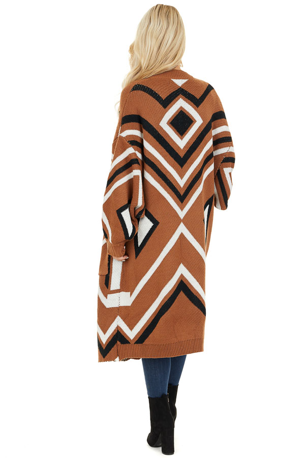 Cognac Aztec Print Long Sleeve Knit Cardigan with Pockets back full body