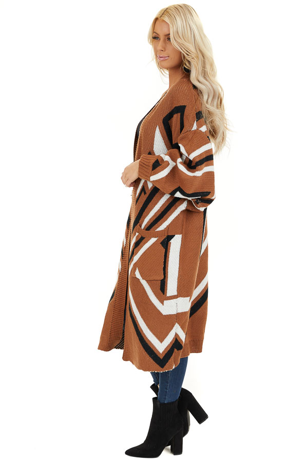 Cognac Aztec Print Long Sleeve Knit Cardigan with Pockets side full body