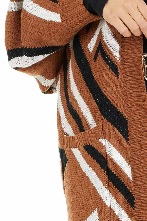 Cognac Aztec Print Long Sleeve Knit Cardigan with Pockets detail