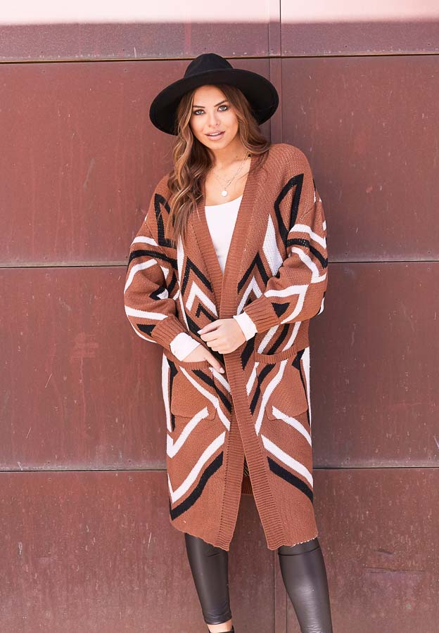 Cognac Aztec Print Long Sleeve Knit Cardigan with Pockets
