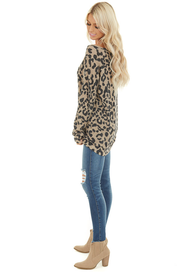 Latte and Black Leopard Print Long Sleeve Pullover Knit Top side full body
