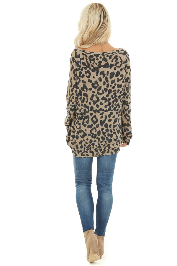 Latte and Black Leopard Print Long Sleeve Pullover Knit Top back full body