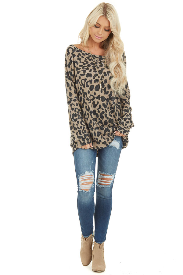 Latte and Black Leopard Print Long Sleeve Pullover Knit Top front full body