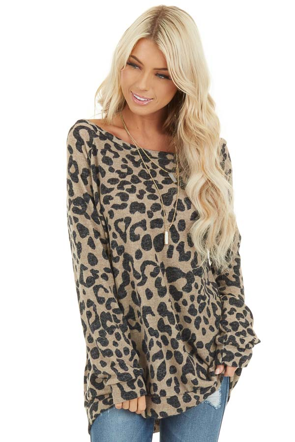 Latte and Black Leopard Print Long Sleeve Pullover Knit Top front close up