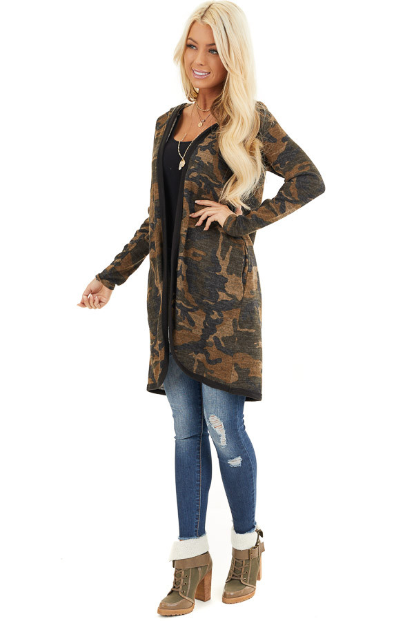 Mocha and Charcoal Camo Print Open Front Cardigan with Hood front full body