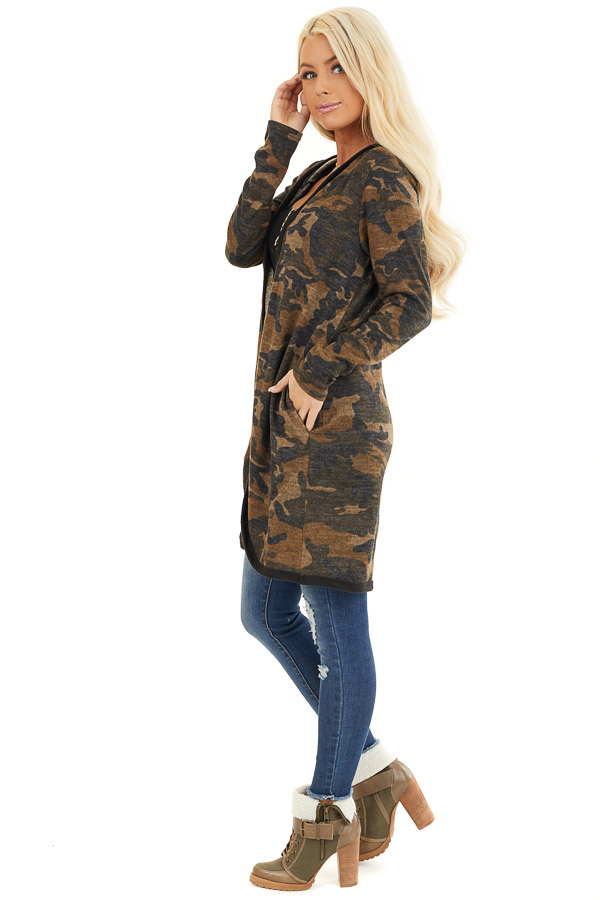 Mocha and Charcoal Camo Print Open Front Cardigan with Hood side full body