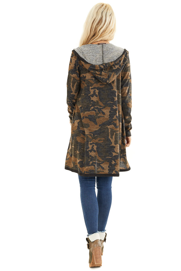 Mocha and Charcoal Camo Print Open Front Cardigan with Hood back full body