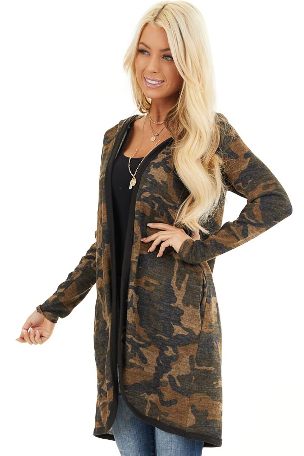 Mocha and Charcoal Camo Print Open Front Cardigan with Hood front close up