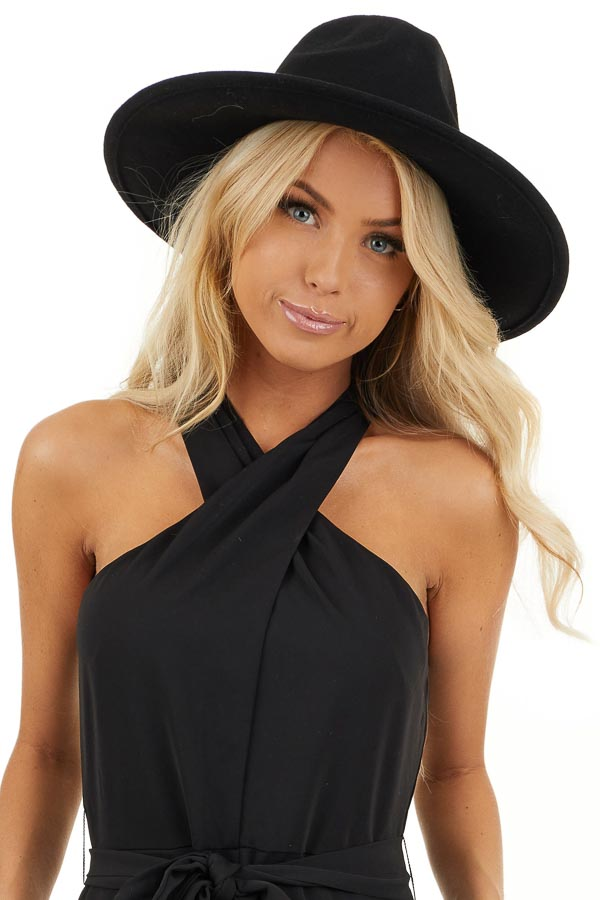 Black Wool Felt Western Style Hat with Flat Brim front view