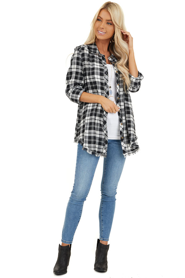 Black and White Plaid Woven Collared Top with Fringe Hemline front full body