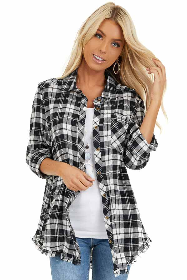 Black and White Plaid Woven Collared Top with Fringe Hemline front close up
