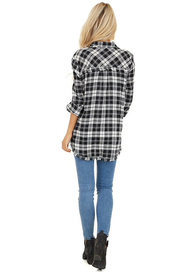 Black and White Plaid Woven Collared Top with Fringe Hemline back full body