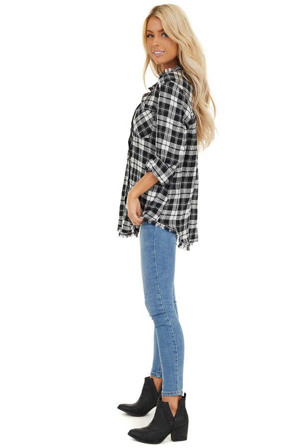 Black and White Plaid Woven Collared Top with Fringe Hemline side full body