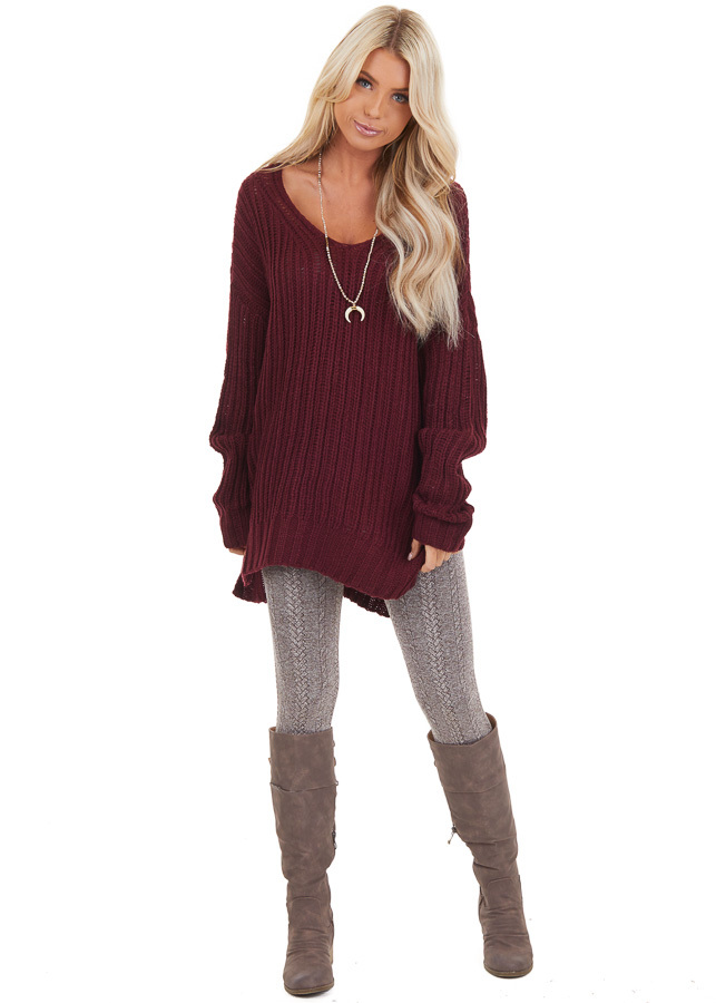 Burgundy Long Sleeve V Neck Sweater Top with Side Slits front full body