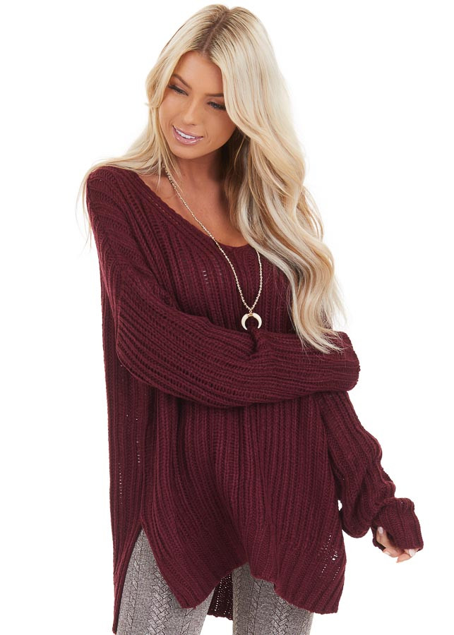 Burgundy Long Sleeve V Neck Sweater Top with Side Slits front close up