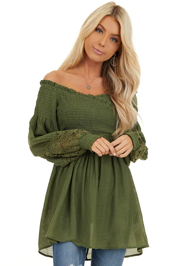 Olive Off Shoulder Smocked Tunic Top with Lace Details front close up