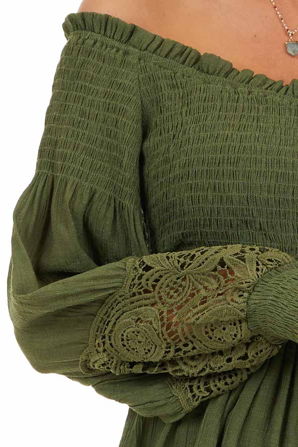 Olive Off Shoulder Smocked Tunic Top with Lace Details detail