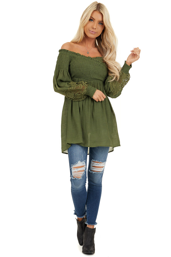 Olive Off Shoulder Smocked Tunic Top with Lace Details front full body