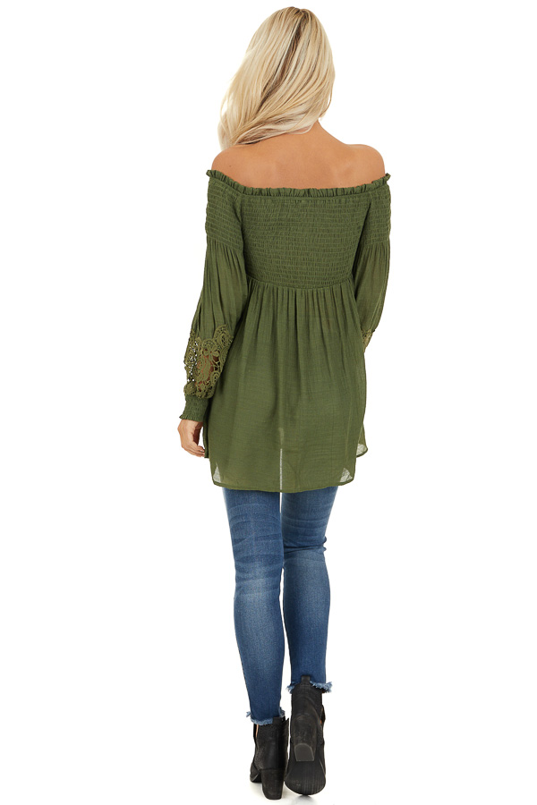 Olive Off Shoulder Smocked Tunic Top with Lace Details back full body