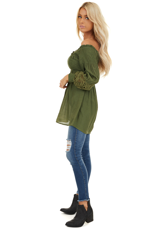 Olive Off Shoulder Smocked Tunic Top with Lace Details side full body