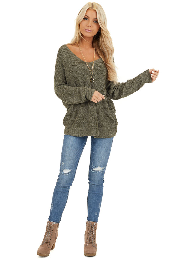 Olive Long Sleeve Knit Sweater Top with Back Twist Detail front full body