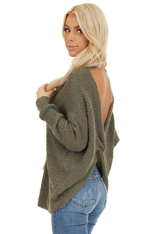 Olive Long Sleeve Knit Sweater Top with Back Twist Detail back side close up