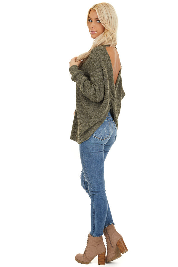 Olive Long Sleeve Knit Sweater Top with Back Twist Detail side full body