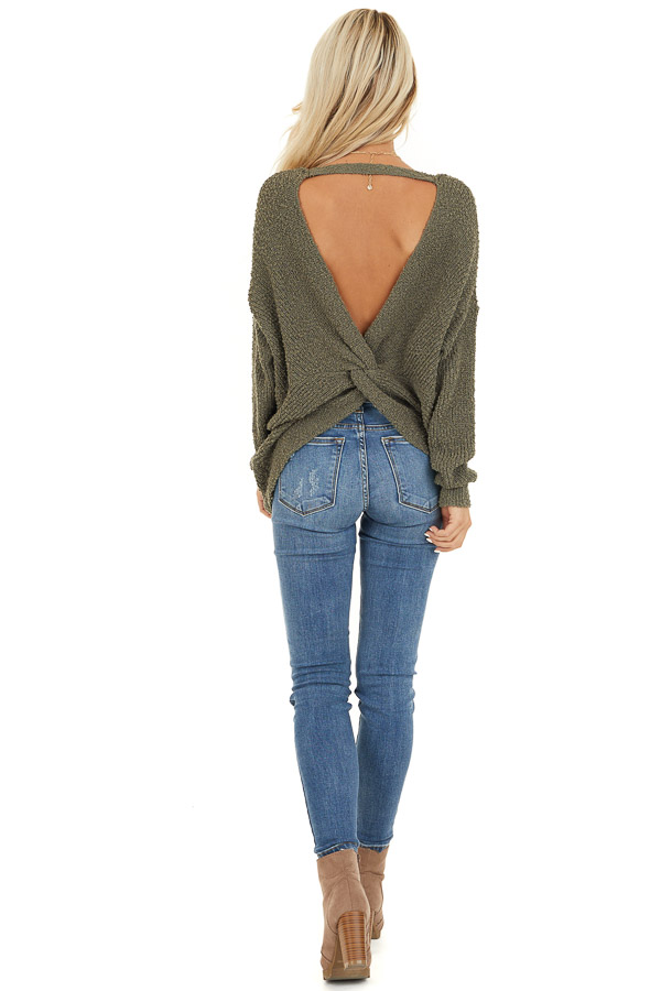 Olive Long Sleeve Knit Sweater Top with Back Twist Detail back full body